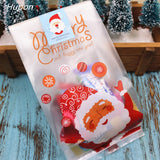 50pcs Santa Merry Christmas Gift Bags Plastic Packing Bag Presents for Christmas Party Decoration bolsas de regalo navidad 2020