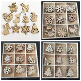 50pcs Mini Wooden Santa Claus Snowman Snowflake Deer Xmas Tree Ornaments 2020 Merry Christmas Decoration for Home Gift New Year