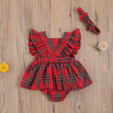 Newborn Baby Christmas Bodysuit Plaid Butterfly Sleeve Jumpsuit with Bow Headband 2-piece Suits