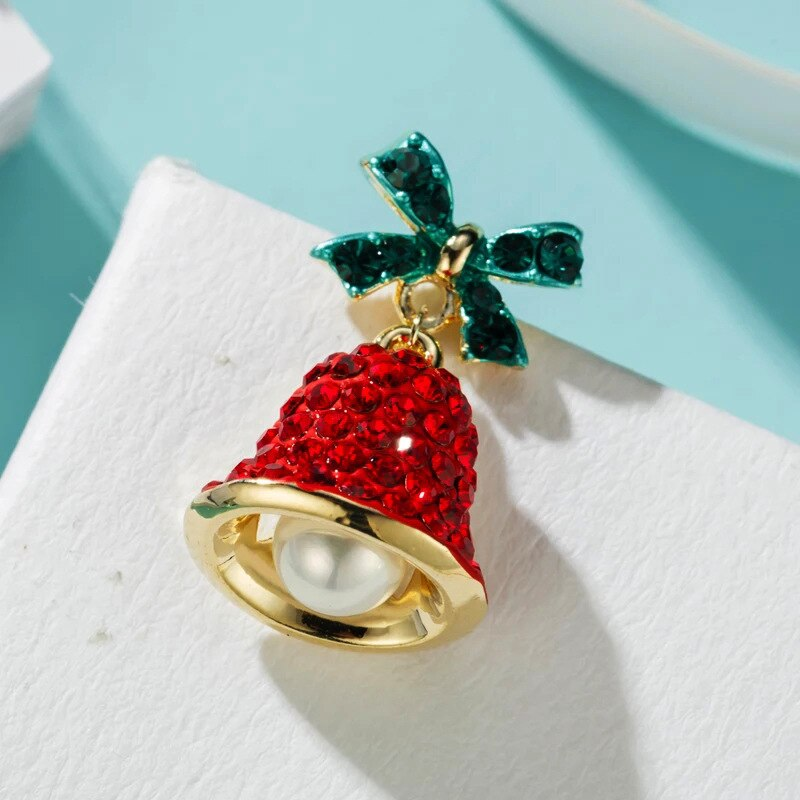 Christmas Gifts Earrings Girls Women Jingle Bell Earrings Green Red Rhinestone Bell Earrings Cute Crystal Bow Fashion Jewelry