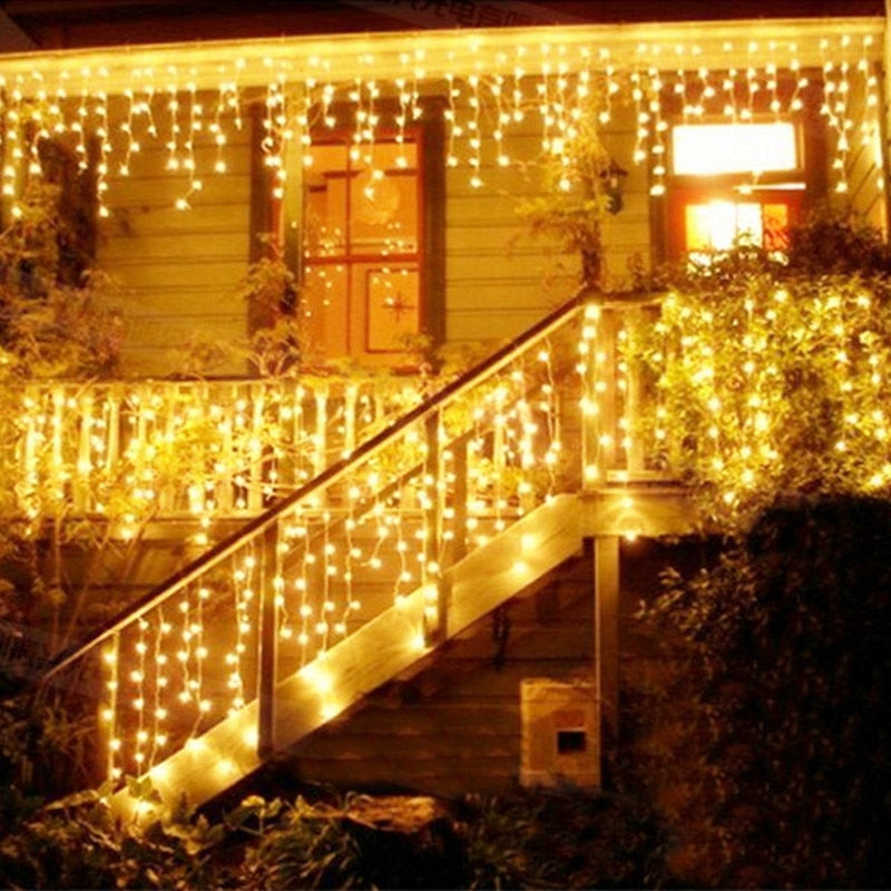 Christmas LED icicles street garland light string 5m 216leds fairy holiday lights outdoor for wedding New Year decoration