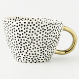 Creative Irregular Ceramic Coffee Mug With Gold Handgrip Handmade Big Pottery Tea Cup Travel Kitchen Tableware Nordic Home Decor