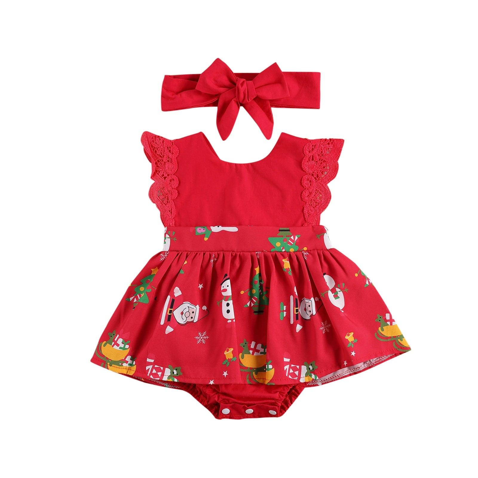 0-24m Christmas Infant Baby Girls Santa Print Striped Sleeveless Lace Patchwork Tutu Romper