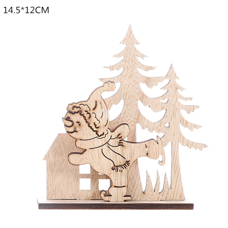 Wooden Reindeer Christmas Decoration DIY Wood Crafts Xmas Ornaments for Christmas Party Home Table Decorations New Year 2020