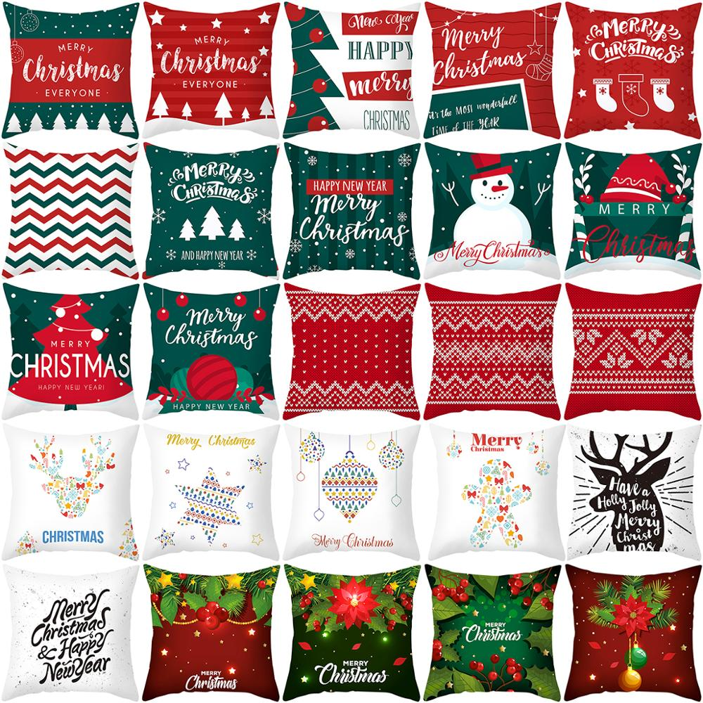 Luanqi Christmas Cushion Cover Square Decorative Pillows Sofa Christmas Decorations For Home Natal 2020 Noel New Year Xmas Gift
