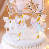 Gold Crown Carousel Happy Birthday Cake Topper Round Baking Decorating party supplies Lovely gift