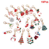 19Pcs /set Mixed Christmas Socks Tree Charms Enamel Pendant Ornaments Beads For Earrings Kayring Necklace DIY Jewelry Findings