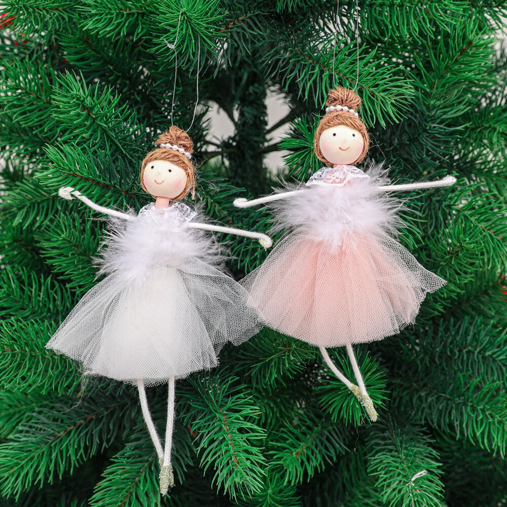 Christmas Plush Angel Girl Boy Dolls Xmas Tree Ornament Natal Noel Deco Christmas Decorations for Home New Year 2021 Kids Gift