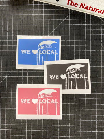 We Love Local Stickers available in blue, black and pink