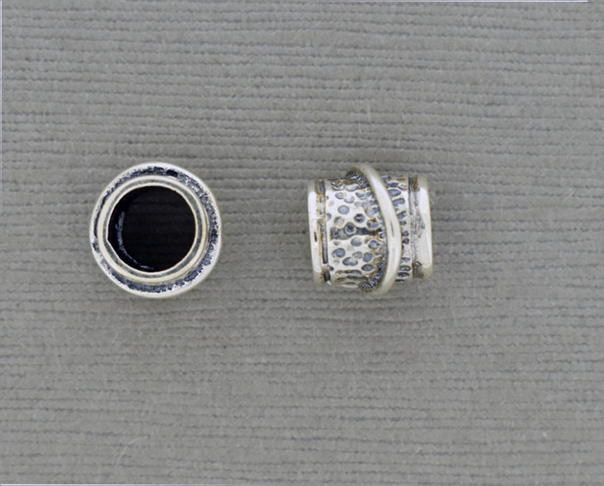 Textured Sterling Bead with Wire and Large Hole