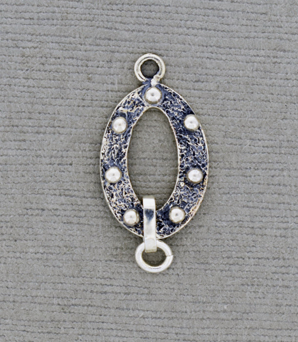 Oval Sterling Connector with dots