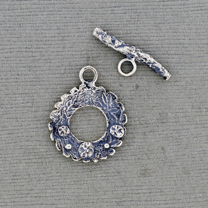 Sterling Silver Toggle Clasp with patterns and textures