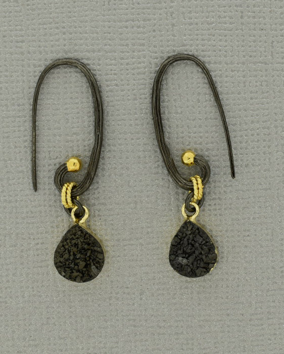 Oxidized Silver Ear Wire with Gold Dot PS1015