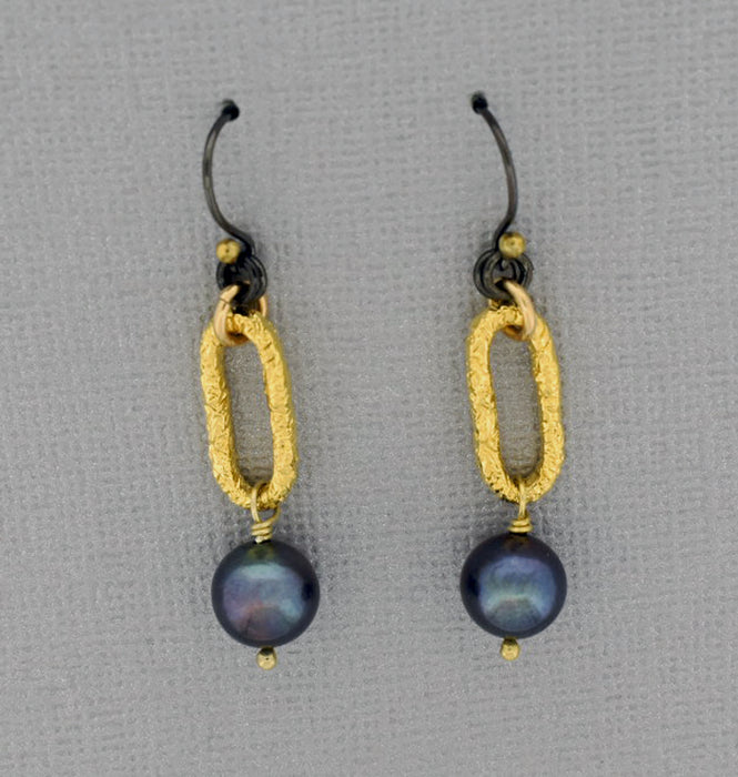 Oxidized Sterling Ear Wire with Gold Ball