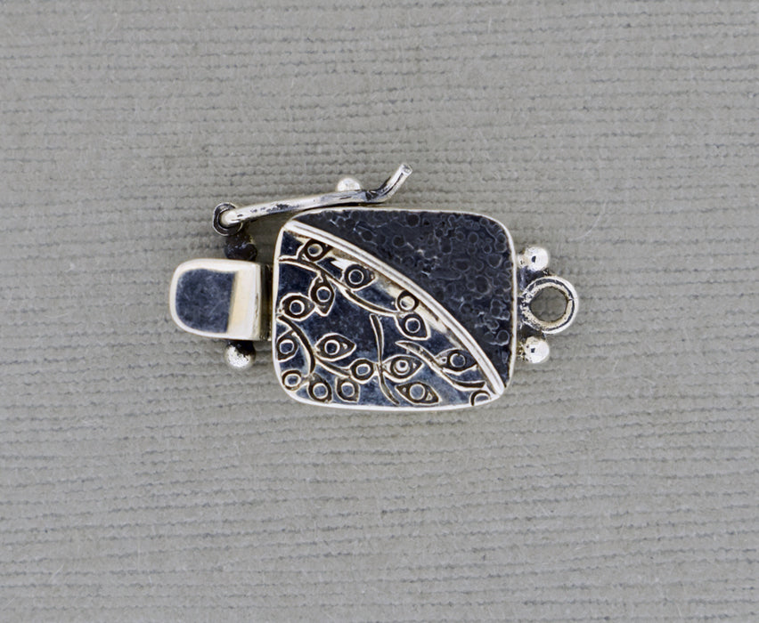 Two tone Rectangular Sterling Silver Box Clasp, oxidized and textured PS771