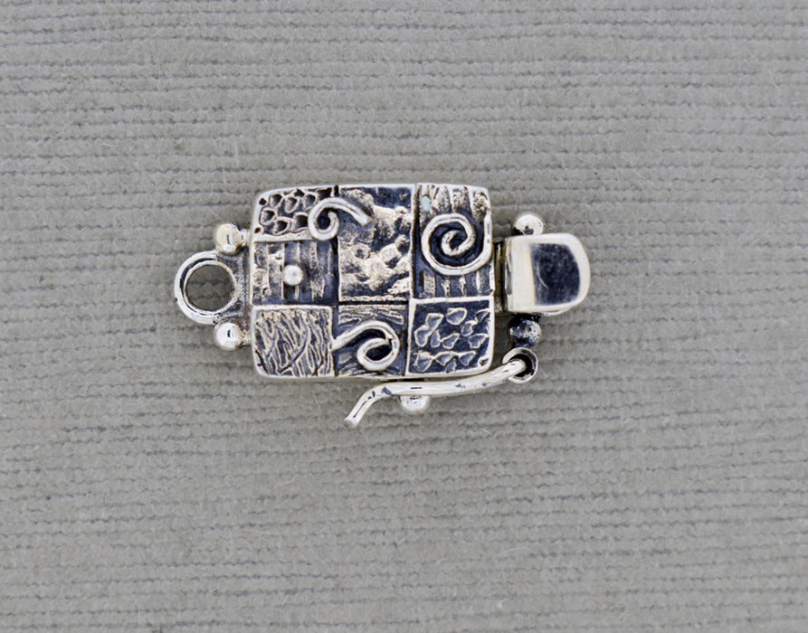 Rectangular Sterling silver Box Clasp with organic textures and spirals