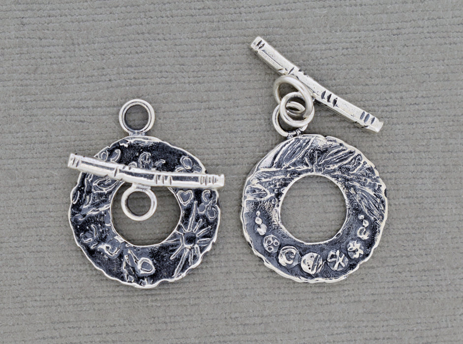 Two Sided Sterling Silver Toggle Clasp with patterns and textures