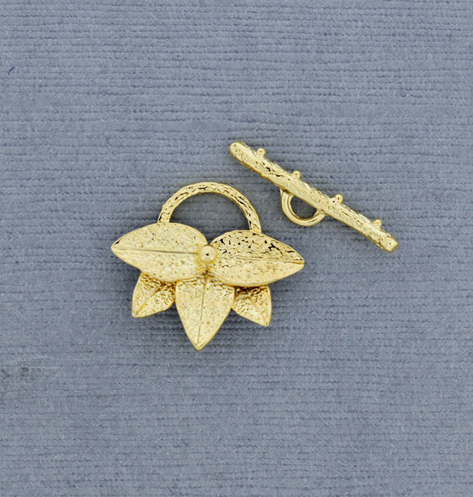 18K Gold over Bronze Lotus Toggle Clasp GP679
