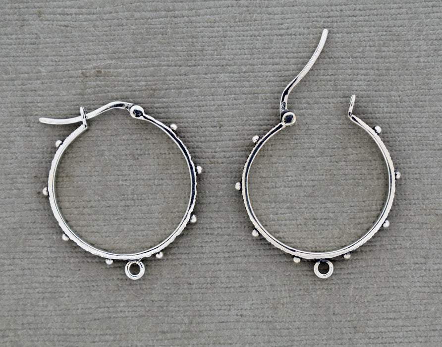 Distressed Sterling Silver Hoop with dots PS1013