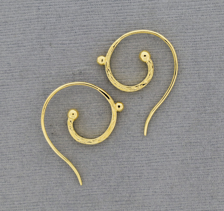 Spiral Ear Wire, 18K Gold over Bronze