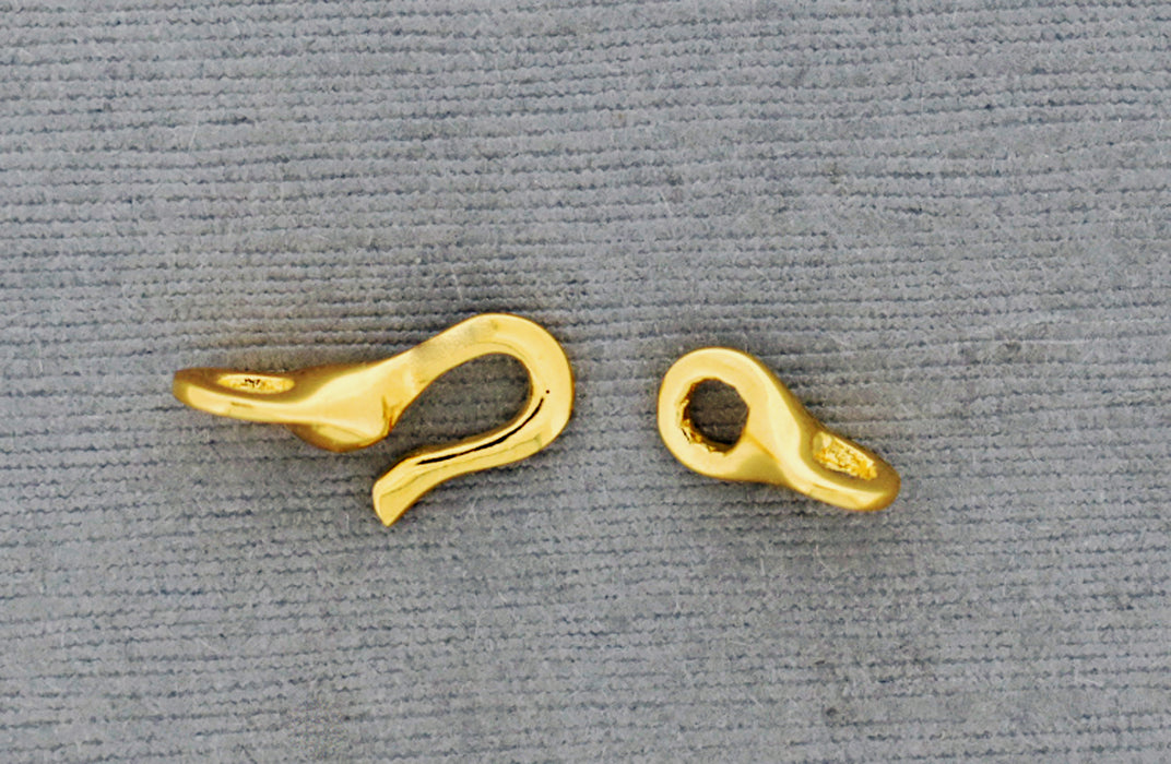 18K Gold over Bronze 2 Part Hook and Eye Clasp