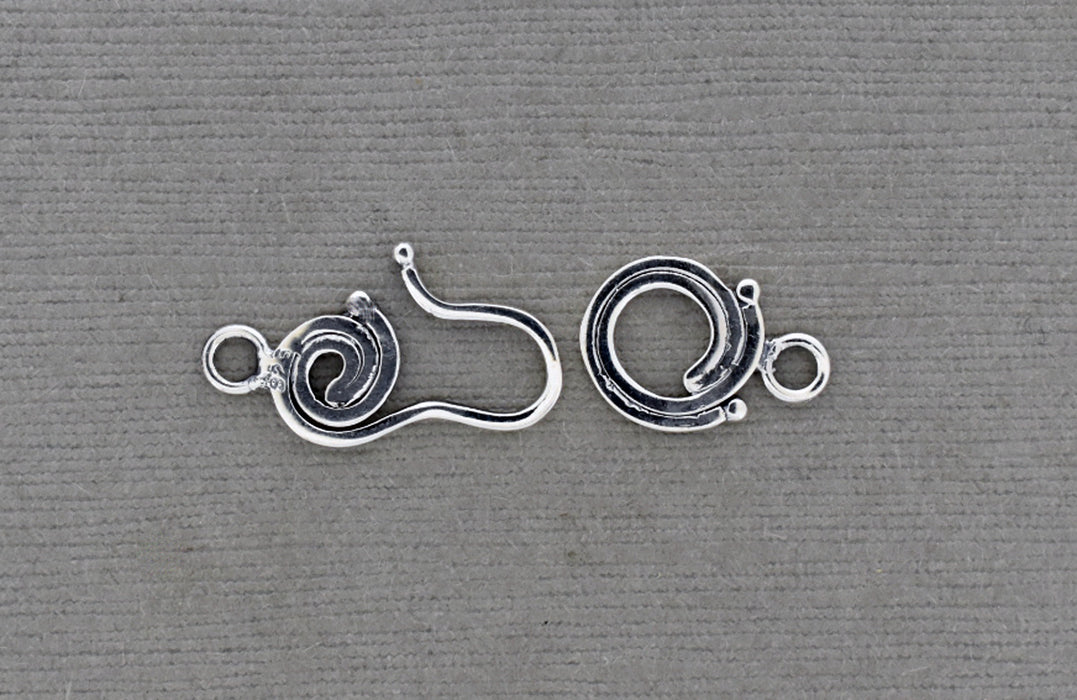 2 Part Spiral and Hook Sterling Silver Clasp