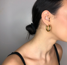 Load image into Gallery viewer, The Jasmin Hoops, gold fancy hoops, earrings, jewelry