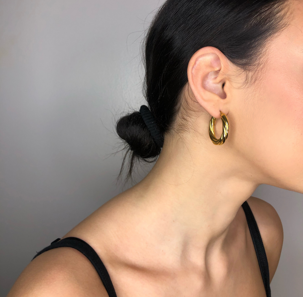 The Jasmin Hoops, gold fancy hoops, earrings, jewelry