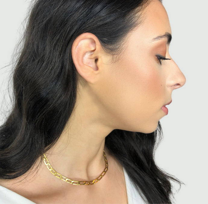 gold paperclip link chain necklace, simple minimalist jewelry