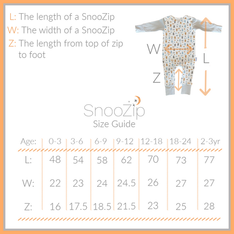 SnooZip Size Guide