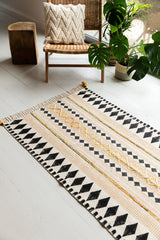 Mustard & Black Hand Block Printed Cotton Rug