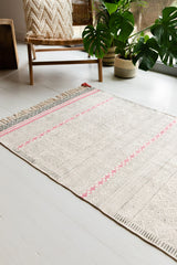 Black & Pink Hand Block Printed Cotton Rug