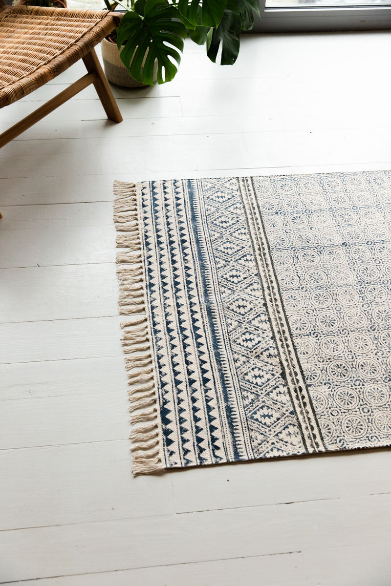 Blue Hand Block Printed Cotton Rug