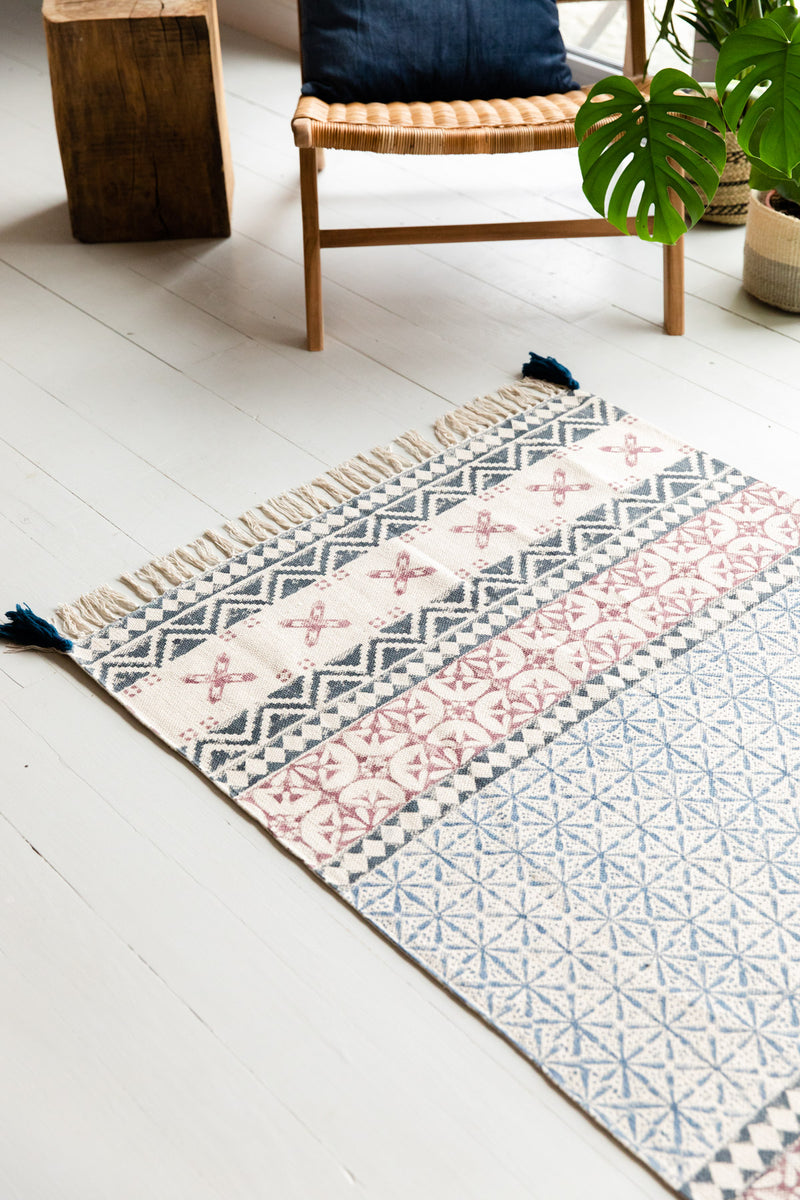 Blue, Grey & Dusty Pink Hand Block Printed Cotton Rug