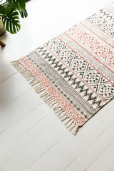 Rust & Black Hand Block Printed Cotton Rug