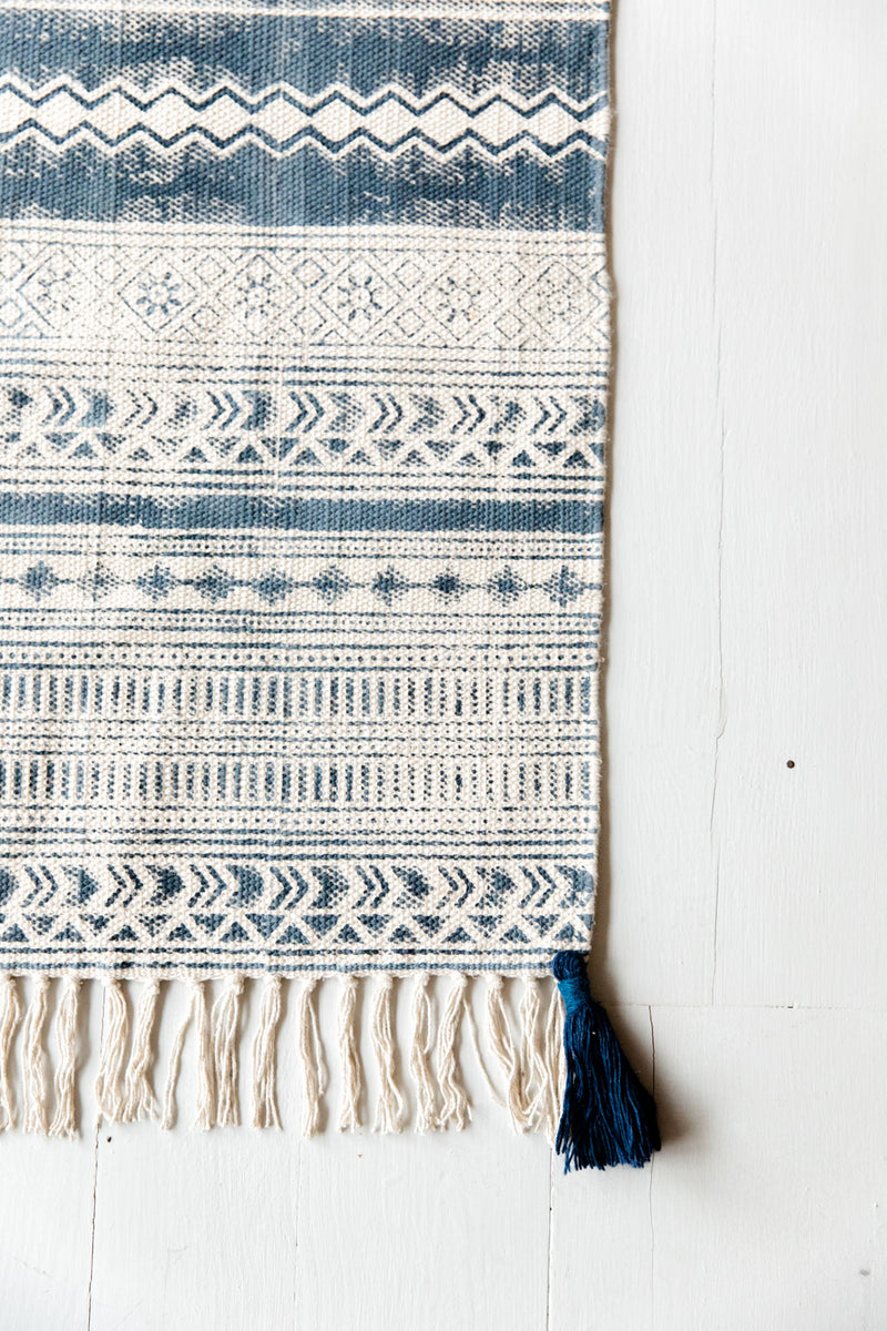 Navy Blue Hand Block Printed Cotton Rug With Corner Tassels