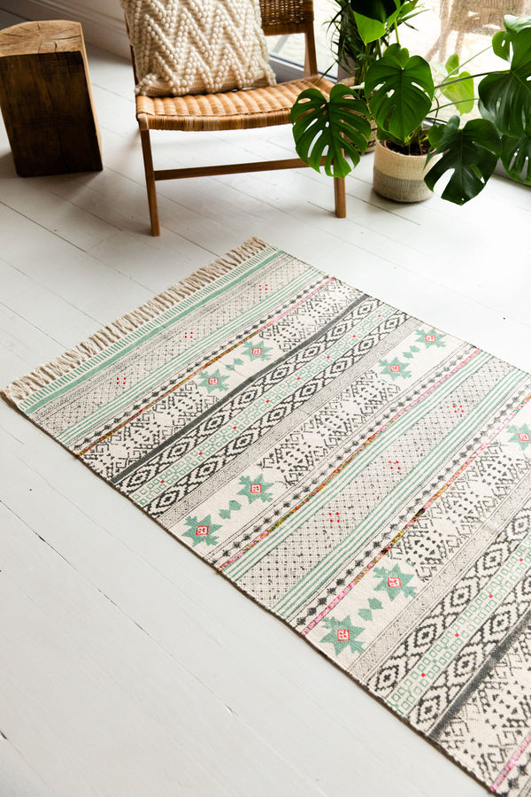 Dusty Green Hand Block Printed Cotton Rug