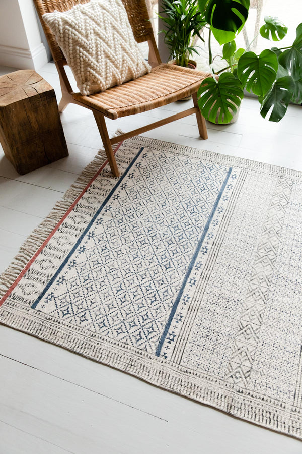 Navy & Rust Hand Block Printed Cotton Rug