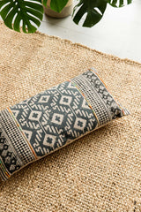 Black and Yellow Hand Block Printed Cushion Cover