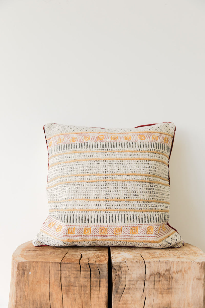 Black, Yellow and Red Hand Block Printed Cushion Cover