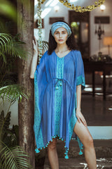 Blue & Turquoise Handwoven Cotton Kaftan