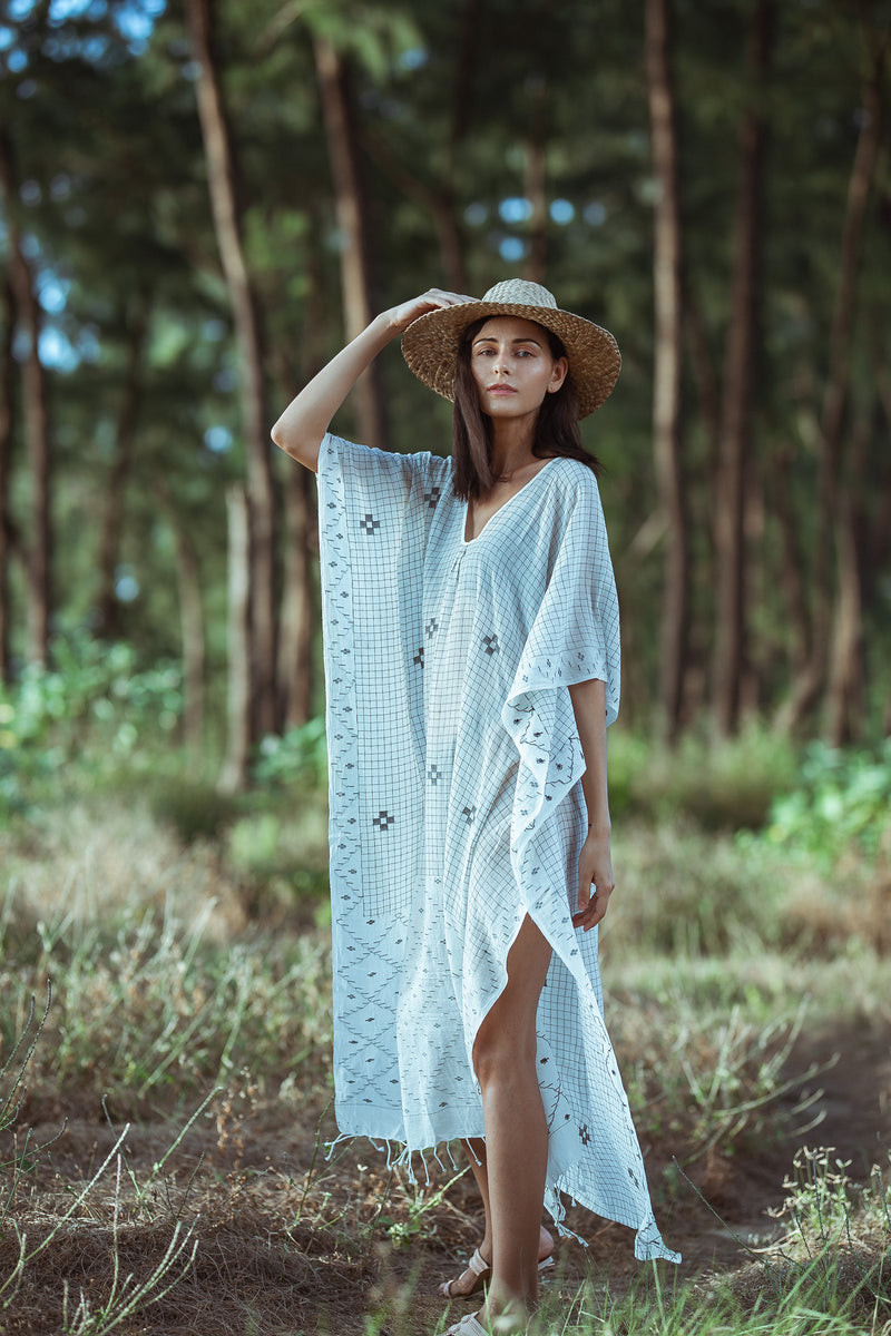 Hand Woven White and Black Cotton Kaftan