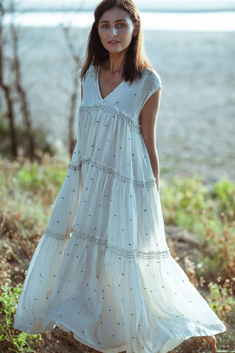 Hand Woven White Maxi Dress