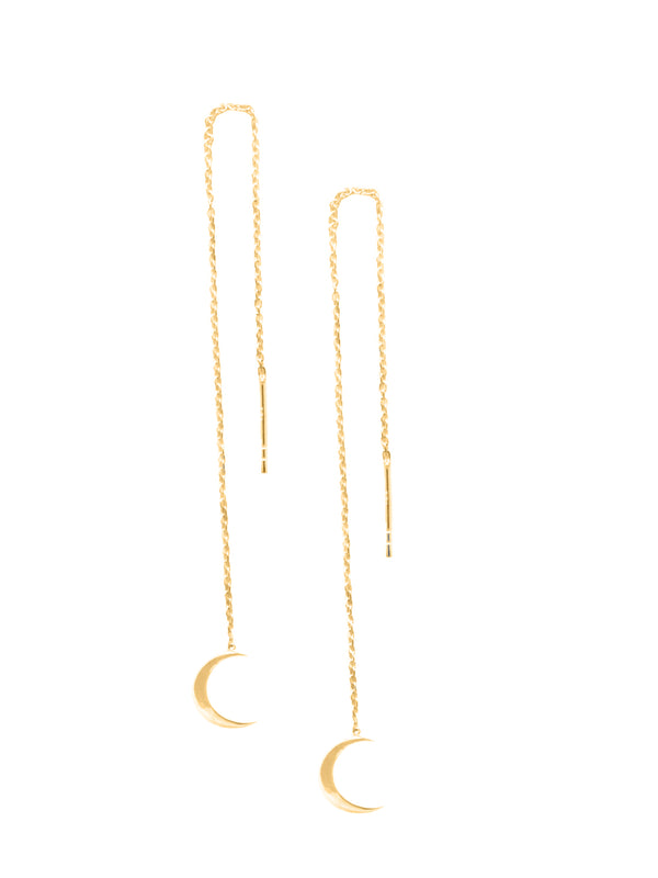Moon Parallel Earrings 925 Silver Gold Plated