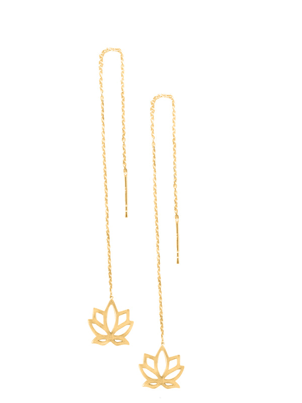 Lotus Parallel Earrings 925 Silver Gold Plated