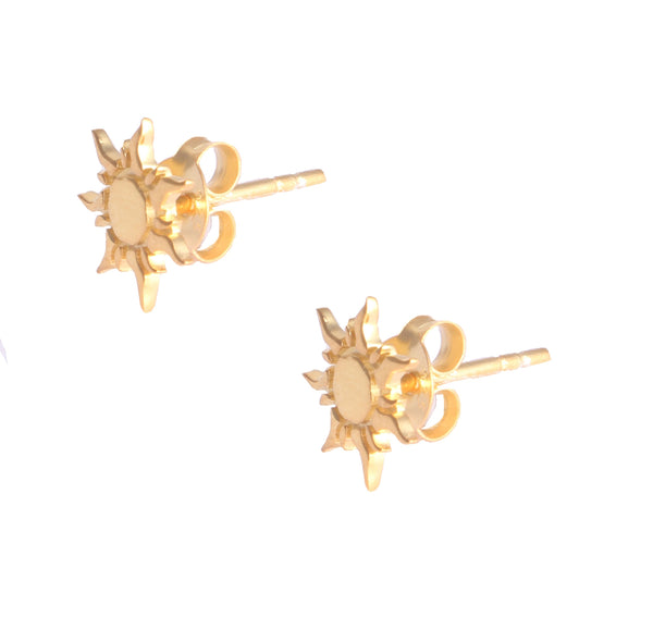 Sun Silver 925 Gold Plated Studs