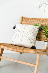 Cream Cushion With Stitched Pattern