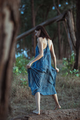 Hand Block Printed Indigo & White Dress