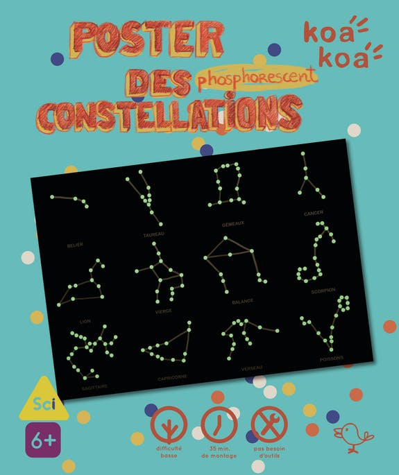 DESSINE LES CONSTELLATIONS SUR UN POSTER PHOSPHORESCENT