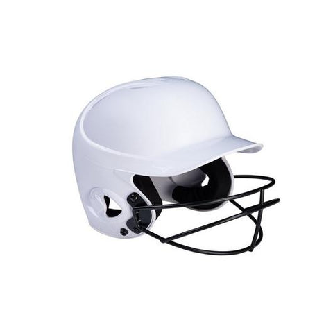 Mizuno MVP Series Solid Youth Batting Helmet with Fastpitch Softball Mask (White)